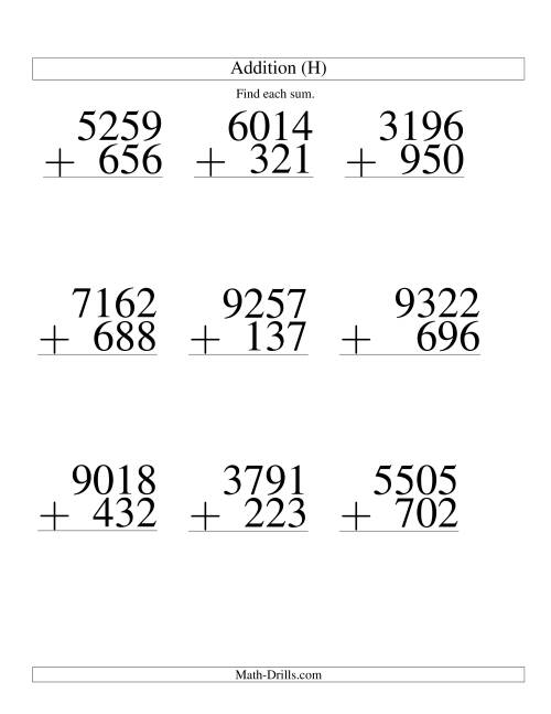 The Four-Digit Plus Three-Digit Addition -- 9 Questions (H) Math Worksheet