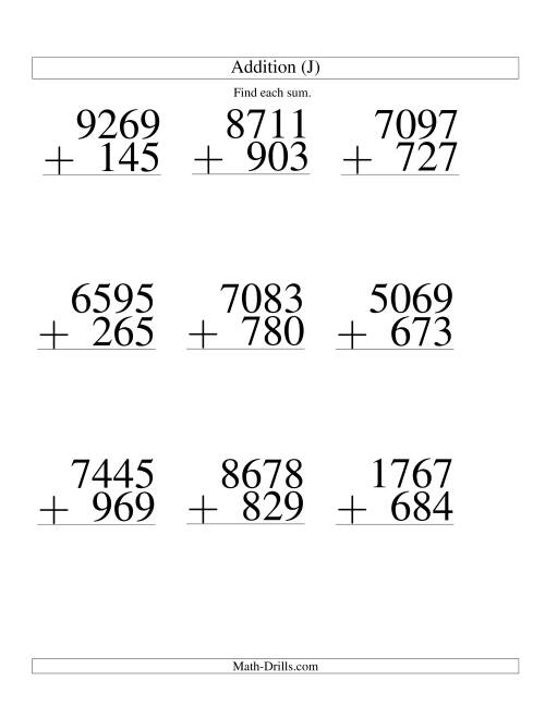 The Four-Digit Plus Three-Digit Addition -- 9 Questions (J) Math Worksheet