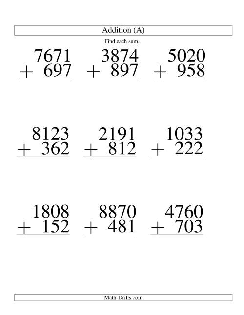 The Four-Digit Plus Three-Digit Addition -- 9 Questions (All) Math Worksheet