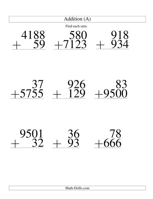 The Various-Digit Addition (A) Math Worksheet
