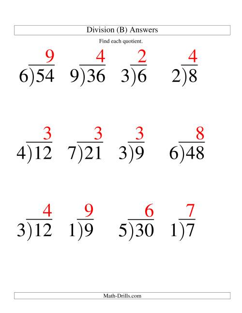 The Long Division - One-Digit Divisor and a One-Digit Quotient with No Remainder -- Large Print (B) Math Worksheet Page 2