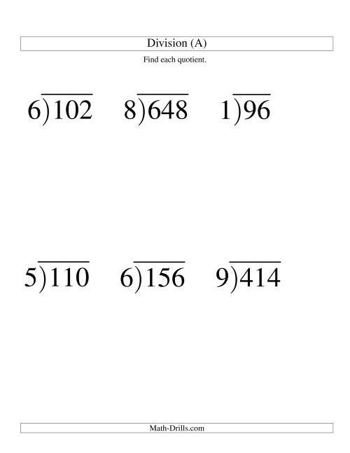 The Long Division - One-Digit Divisor and a Two-Digit Quotient with No Remainder -- Large Print (A) Math Worksheet