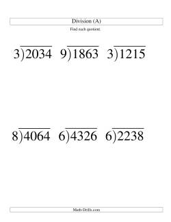 Long Division - One-Digit Divisor and a Three-Digit Quotient with No Remainder -- Large Print (A)