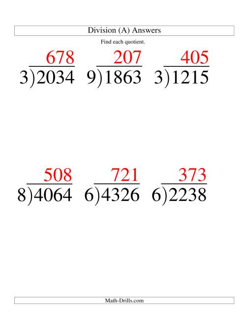 The Long Division - One-Digit Divisor and a Three-Digit Quotient with No Remainder -- Large Print (A) Math Worksheet Page 2