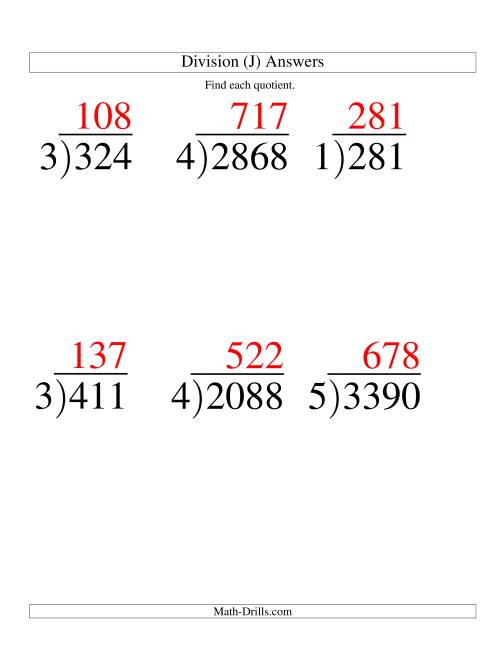 The Long Division - One-Digit Divisor and a Three-Digit Quotient with No Remainder -- Large Print (J) Math Worksheet Page 2