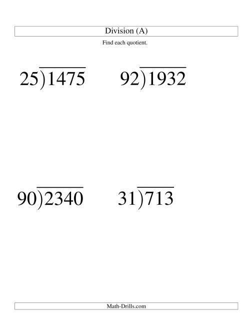 The Long Division - Two-Digit Divisor and a Two-Digit Quotient with No Remainder -- Large Print (A) Math Worksheet