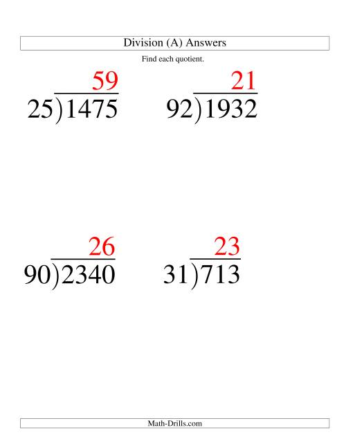 The Long Division - Two-Digit Divisor and a Two-Digit Quotient with No Remainder -- Large Print (A) Math Worksheet Page 2