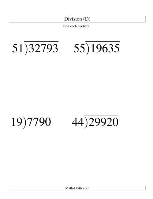 The Long Division - Two-Digit Divisor and a Three-Digit Quotient with No Remainder -- Large Print (D) Math Worksheet