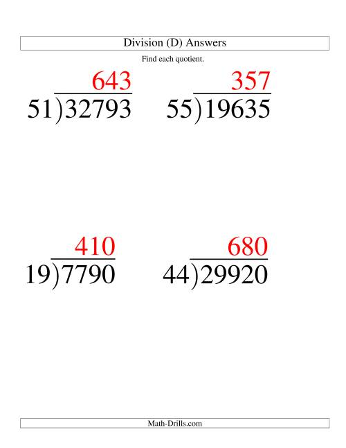 The Long Division - Two-Digit Divisor and a Three-Digit Quotient with No Remainder -- Large Print (D) Math Worksheet Page 2
