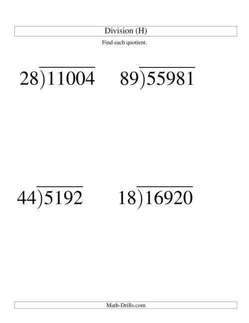 The Long Division - Two-Digit Divisor and a Three-Digit Quotient with No Remainder -- Large Print (H) Math Worksheet