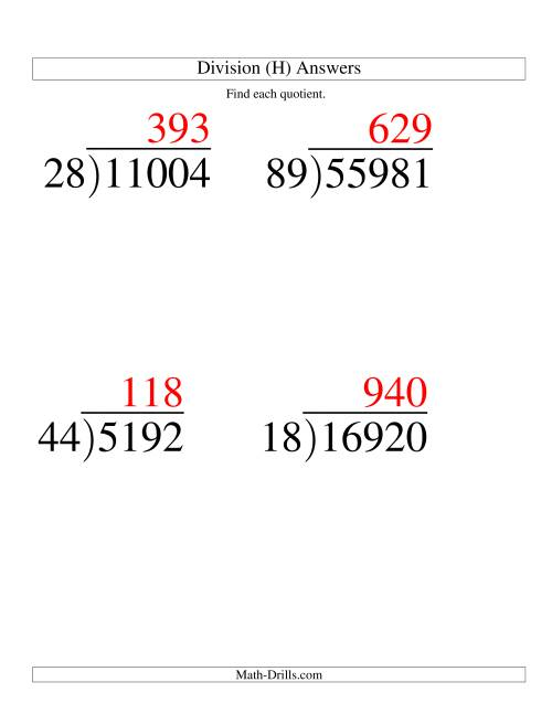 The Long Division - Two-Digit Divisor and a Three-Digit Quotient with No Remainder -- Large Print (H) Math Worksheet Page 2