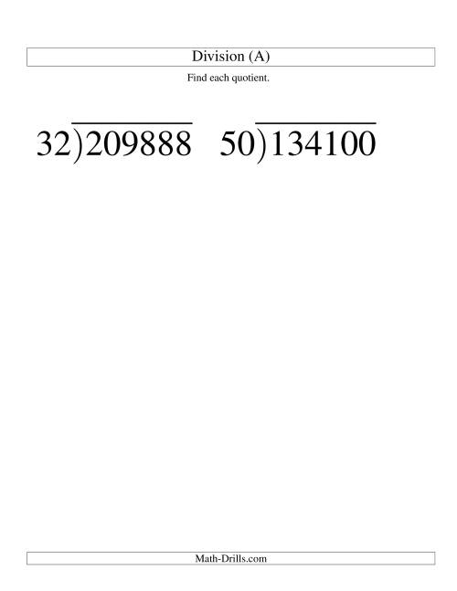 The Long Division - Two-Digit Divisor and a Four-Digit Quotient with No Remainder -- Large Print (A) Math Worksheet