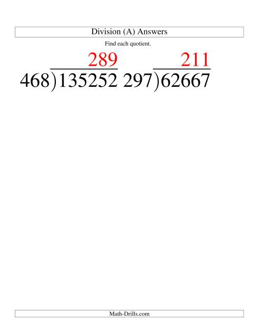 The Long Division - Three-Digit Divisor and a Three-Digit Quotient with No Remainder -- Large Print (A) Math Worksheet Page 2
