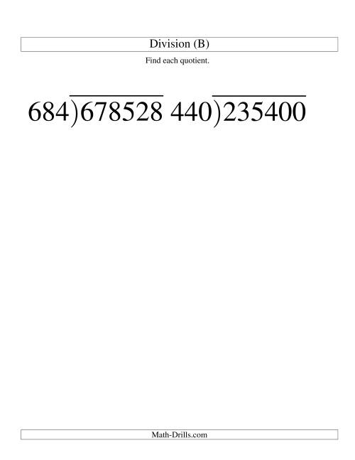 The Long Division - Three-Digit Divisor and a Three-Digit Quotient with No Remainder -- Large Print (B) Math Worksheet