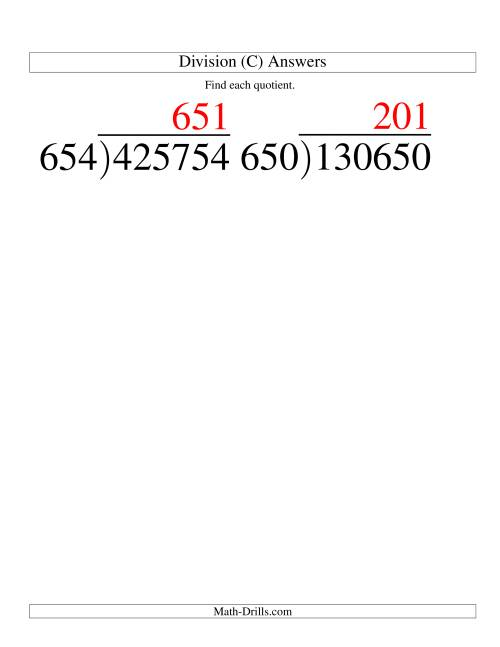 The Long Division - Three-Digit Divisor and a Three-Digit Quotient with No Remainder -- Large Print (C) Math Worksheet Page 2