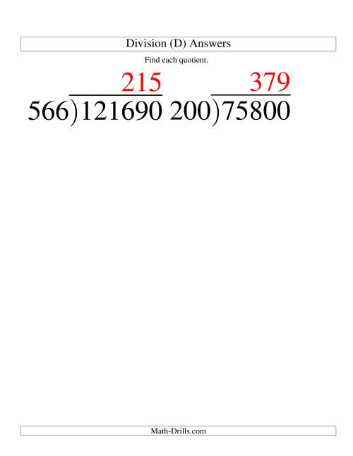 The Long Division - Three-Digit Divisor and a Three-Digit Quotient with No Remainder -- Large Print (D) Math Worksheet Page 2