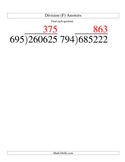 The Long Division - Three-Digit Divisor and a Three-Digit Quotient with No Remainder -- Large Print (F) Math Worksheet Page 2