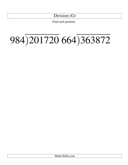The Long Division - Three-Digit Divisor and a Three-Digit Quotient with No Remainder -- Large Print (G) Math Worksheet