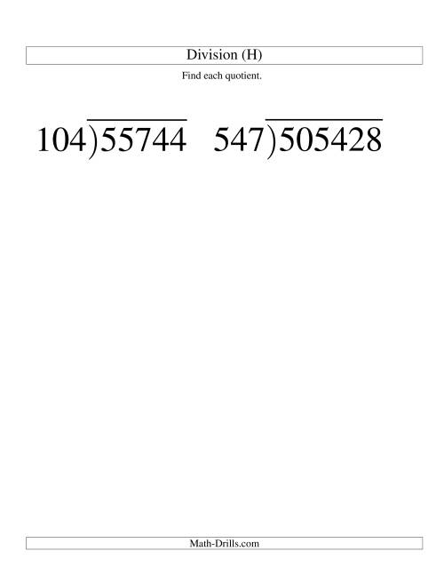 The Long Division - Three-Digit Divisor and a Three-Digit Quotient with No Remainder -- Large Print (H) Math Worksheet