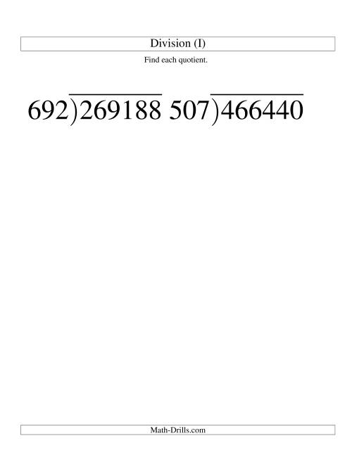The Long Division - Three-Digit Divisor and a Three-Digit Quotient with No Remainder -- Large Print (I) Math Worksheet