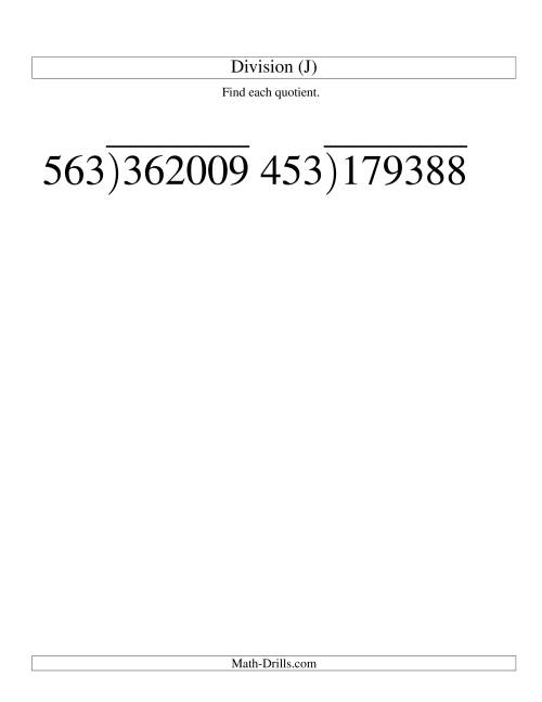 The Long Division - Three-Digit Divisor and a Three-Digit Quotient with No Remainder -- Large Print (J) Math Worksheet