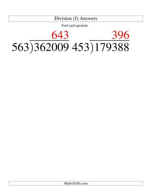 The Long Division - Three-Digit Divisor and a Three-Digit Quotient with No Remainder -- Large Print (J) Math Worksheet Page 2