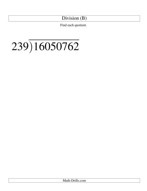 The Long Division - Three-Digit Divisor and a Five-Digit Quotient with No Remainder -- Large Print (B) Math Worksheet