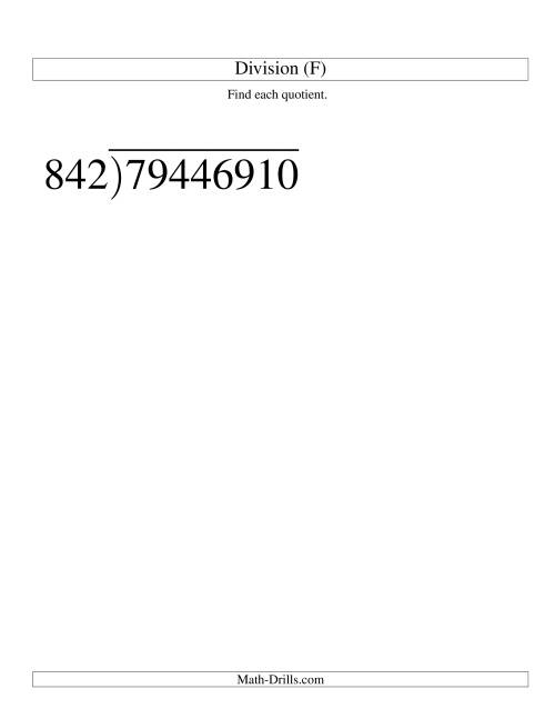 The Long Division - Three-Digit Divisor and a Five-Digit Quotient with No Remainder -- Large Print (F) Math Worksheet