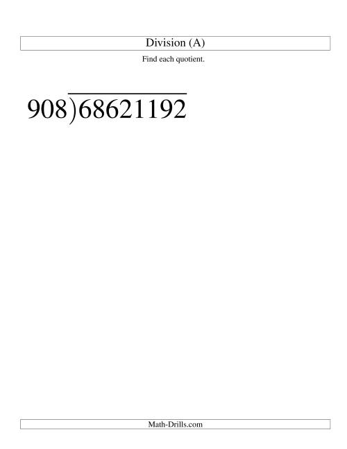 The Long Division - Three-Digit Divisor and a Five-Digit Quotient with No Remainder -- Large Print (All) Math Worksheet