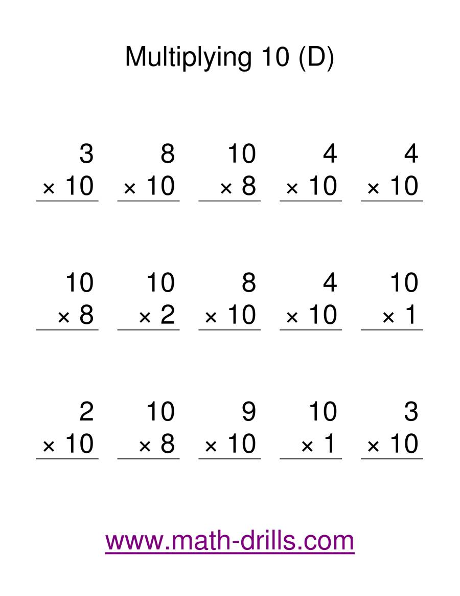 The Multiplication Facts -- Multipliying by 10 (D) Math Worksheet