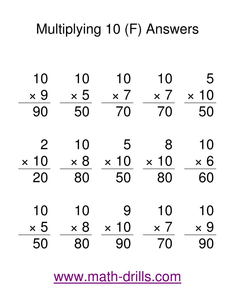 The Multiplication Facts -- Multipliying by 10 (F) Math Worksheet Page 2