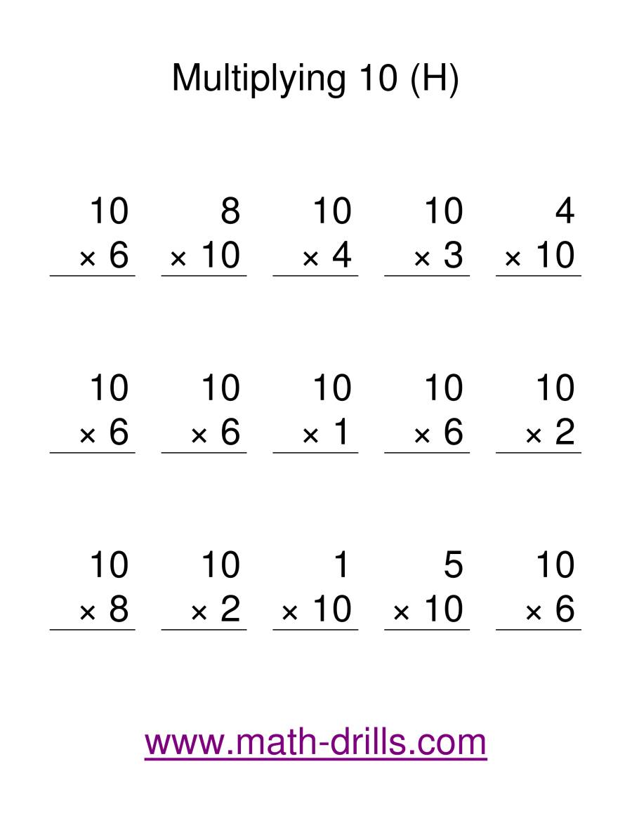 The Multiplication Facts -- Multipliying by 10 (H) Math Worksheet