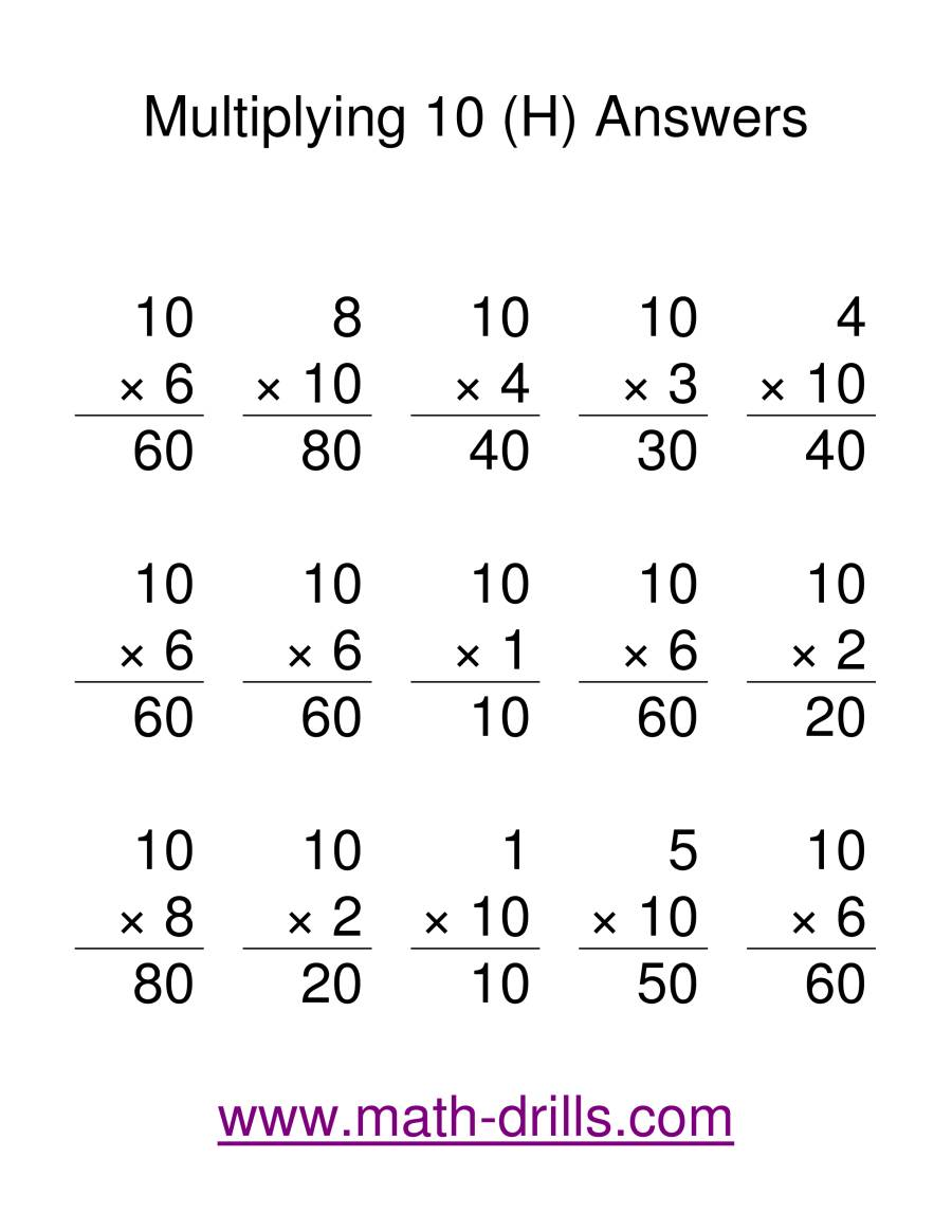 The Multiplication Facts -- Multipliying by 10 (H) Math Worksheet Page 2