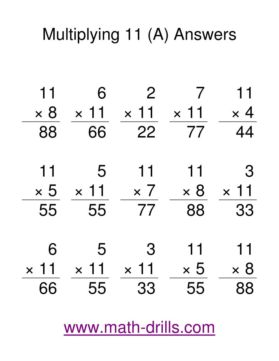 The Multiplication Facts -- Multipliying by 11 (A) Math Worksheet Page 2