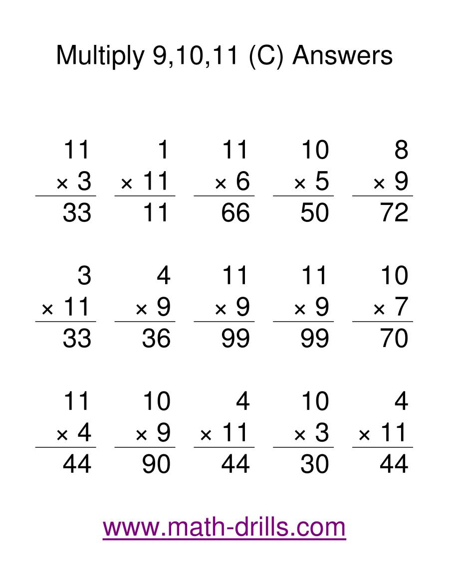 The Multiplication Facts -- Multipliying by 9 to 11 (C) Math Worksheet Page 2