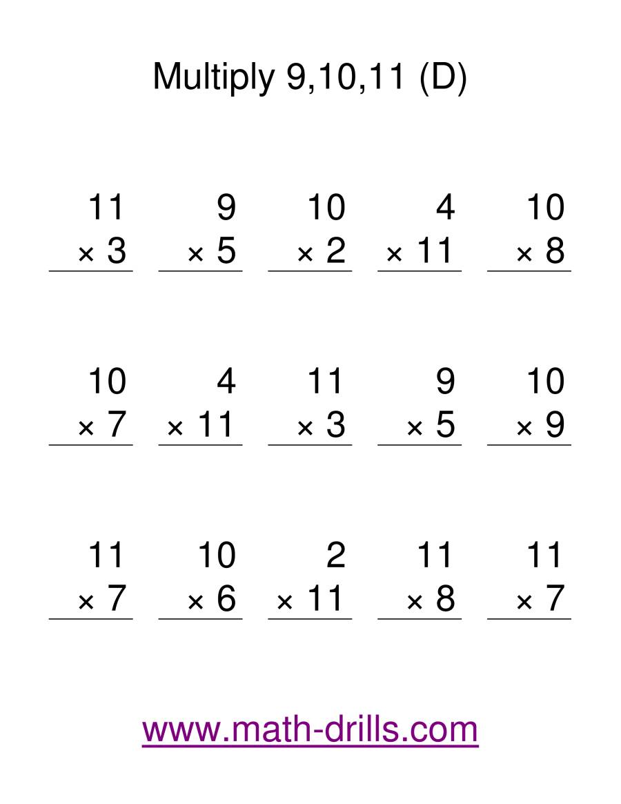 The Multiplication Facts -- Multipliying by 9 to 11 (D) Math Worksheet