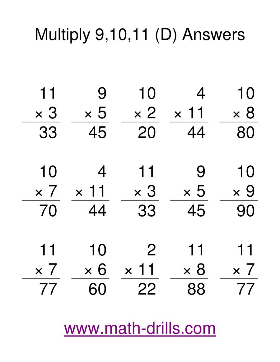 The Multiplication Facts -- Multipliying by 9 to 11 (D) Math Worksheet Page 2