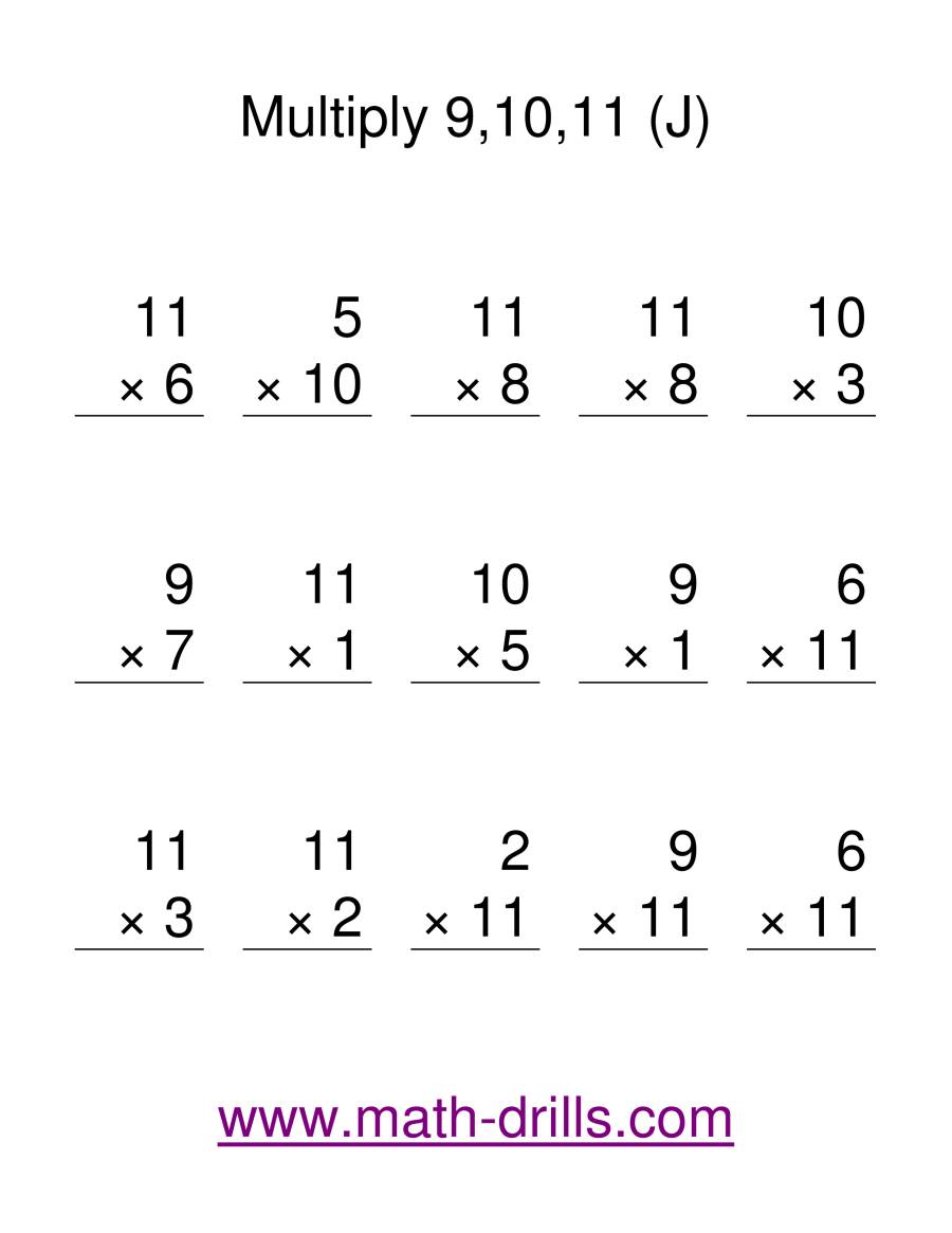 The Multiplication Facts -- Multipliying by 9 to 11 (J) Math Worksheet