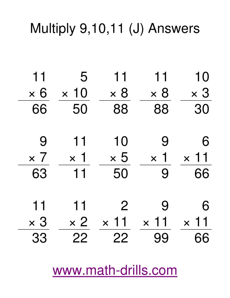 The Multiplication Facts -- Multipliying by 9 to 11 (J) Math Worksheet Page 2