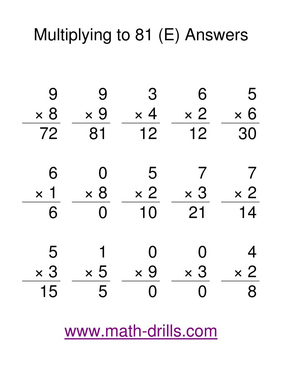 The Multiplication Facts to 81 (E) Math Worksheet Page 2