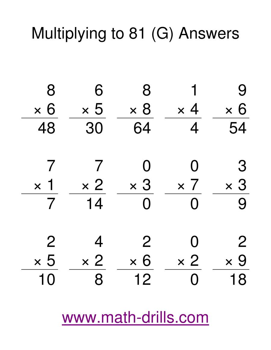 The Multiplication Facts to 81 (G) Math Worksheet Page 2