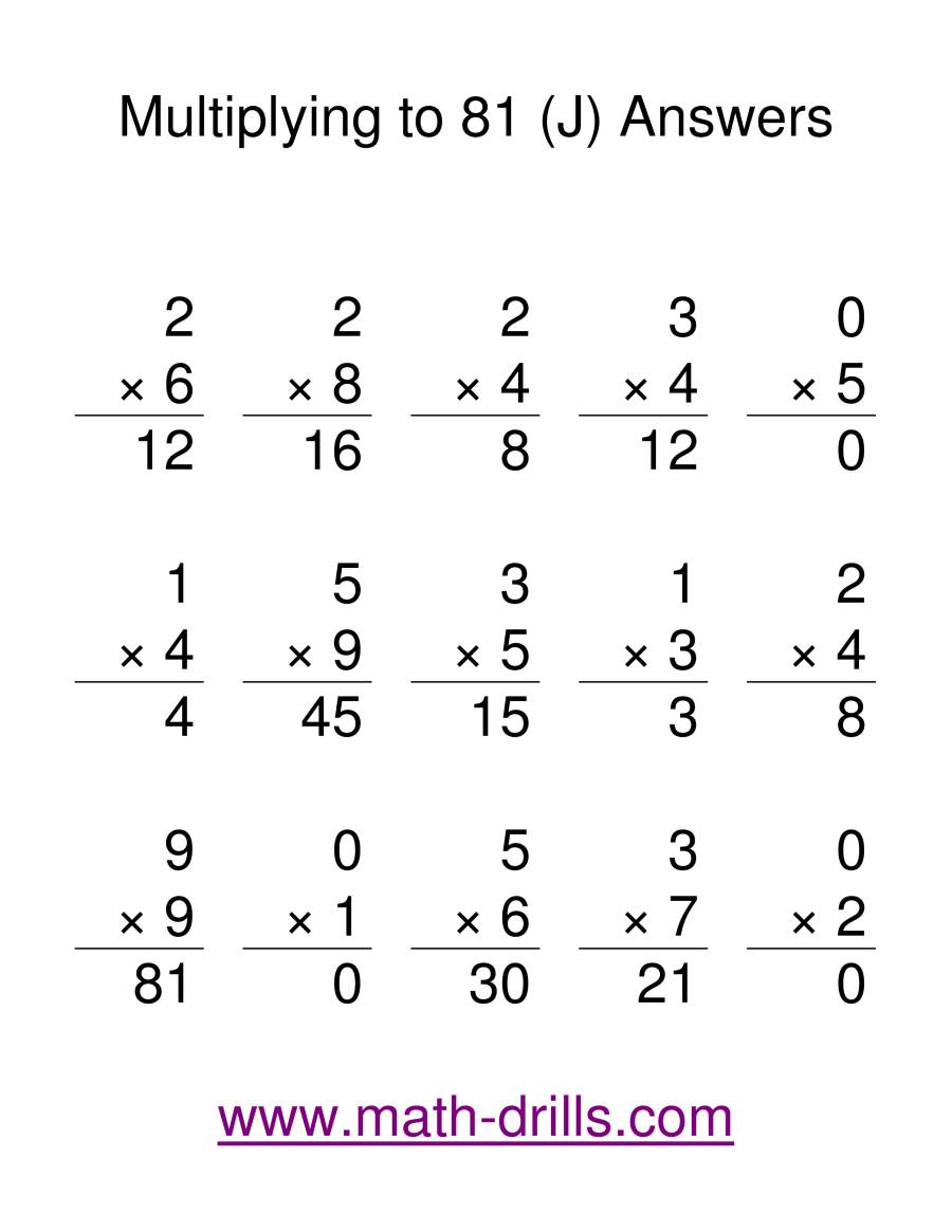 The Multiplication Facts to 81 (J) Math Worksheet Page 2