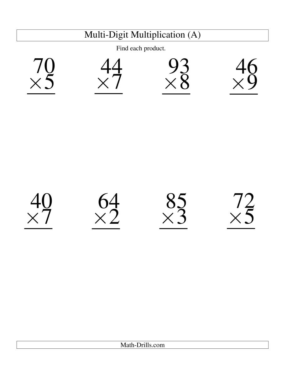 Multiplying TwoDigit by OneDigit 8 per page A Large Print – Multiplication by 2 Digits Worksheets