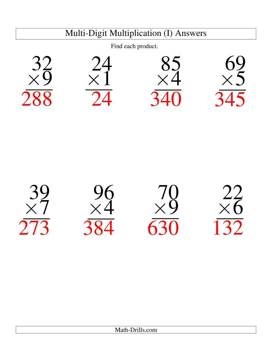 The Multiplying Two-Digit by One-Digit -- 8 per page (I) Math Worksheet Page 2