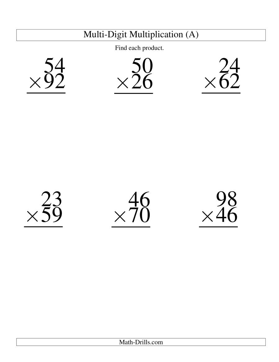 The Multiplying Two-Digit by Two-Digit -- 6 per page (A) Math Worksheet