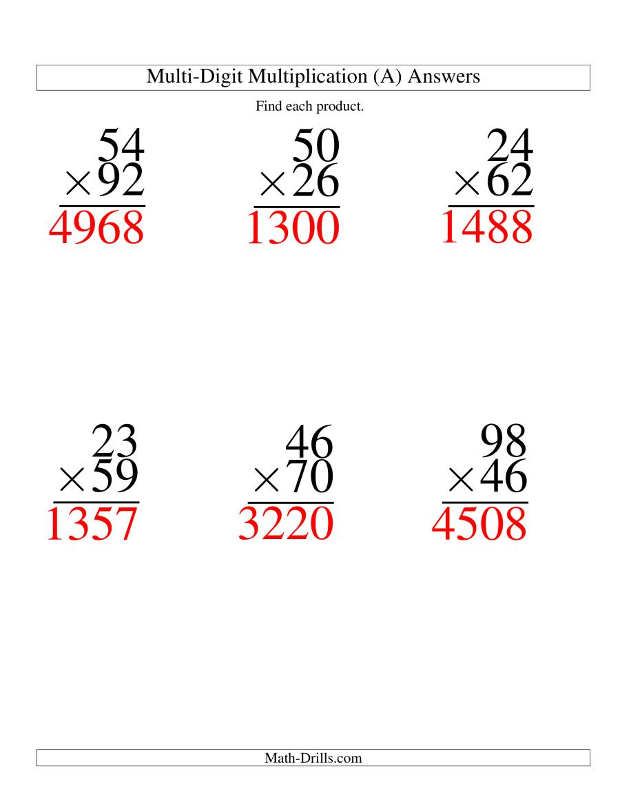 The Multiplying Two-Digit by Two-Digit -- 6 per page (A) Math Worksheet Page 2