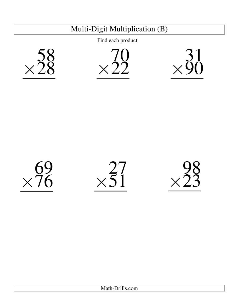 The Multiplying Two-Digit by Two-Digit -- 6 per page (B) Math Worksheet