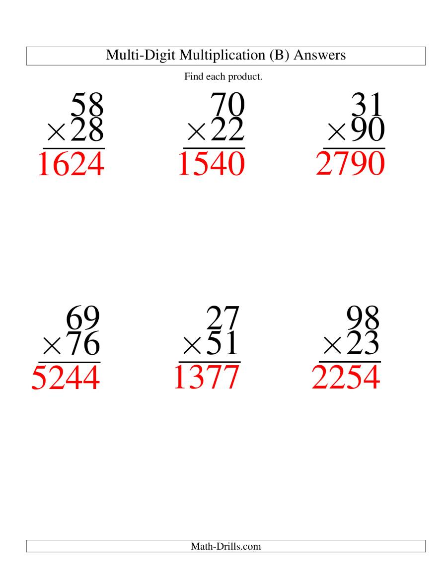 The Multiplying Two-Digit by Two-Digit -- 6 per page (B) Math Worksheet Page 2