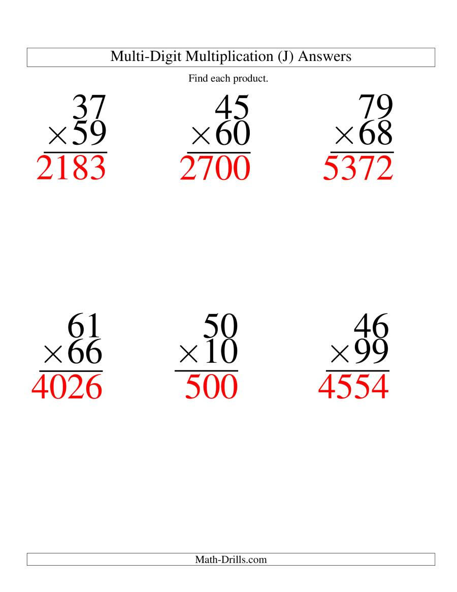The Multiplying Two-Digit by Two-Digit -- 6 per page (J) Math Worksheet Page 2