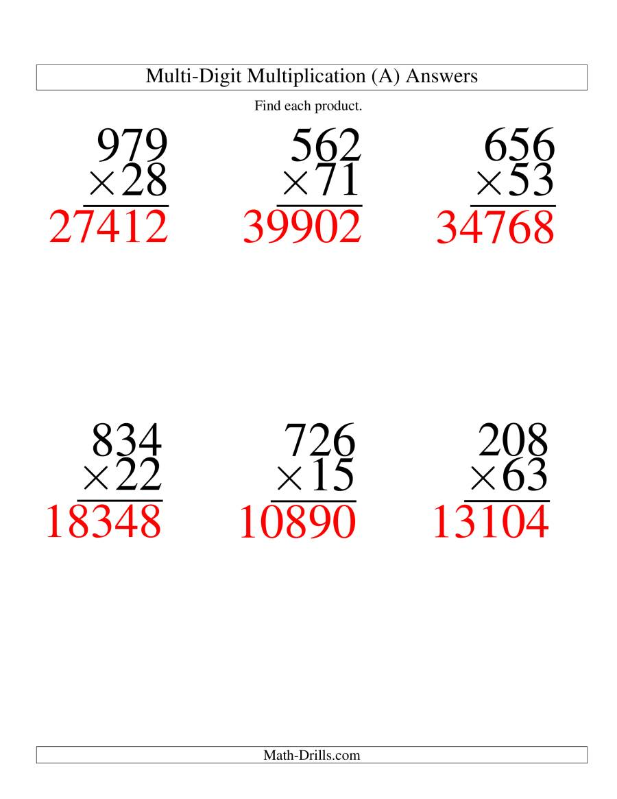 The Multiplying Three-Digit by Two-Digit -- 6 per page (A) Math Worksheet Page 2